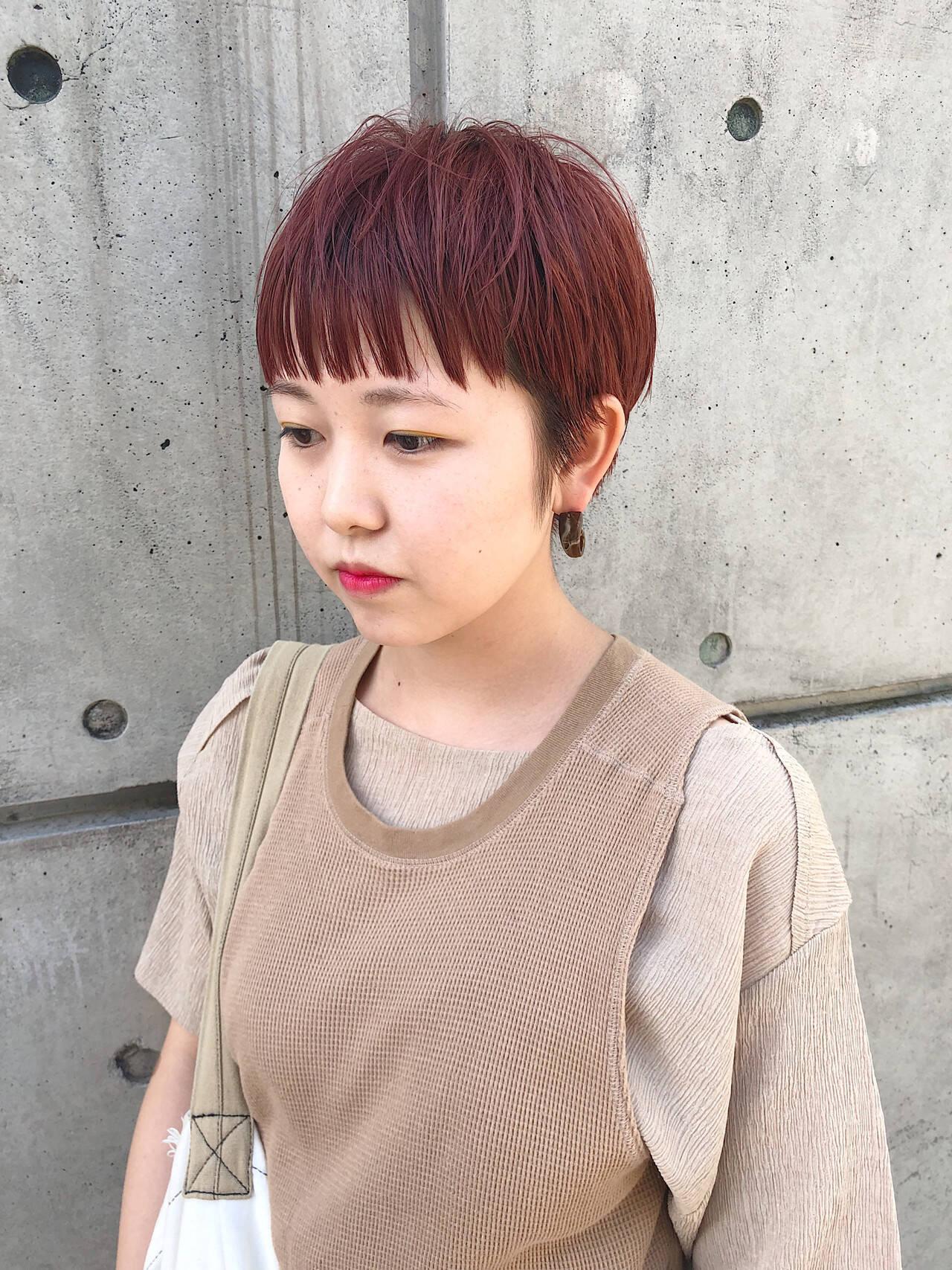 ショート ショートヘア ピンクブラウン ベリーショートヘアスタイルや髪型の写真・画像