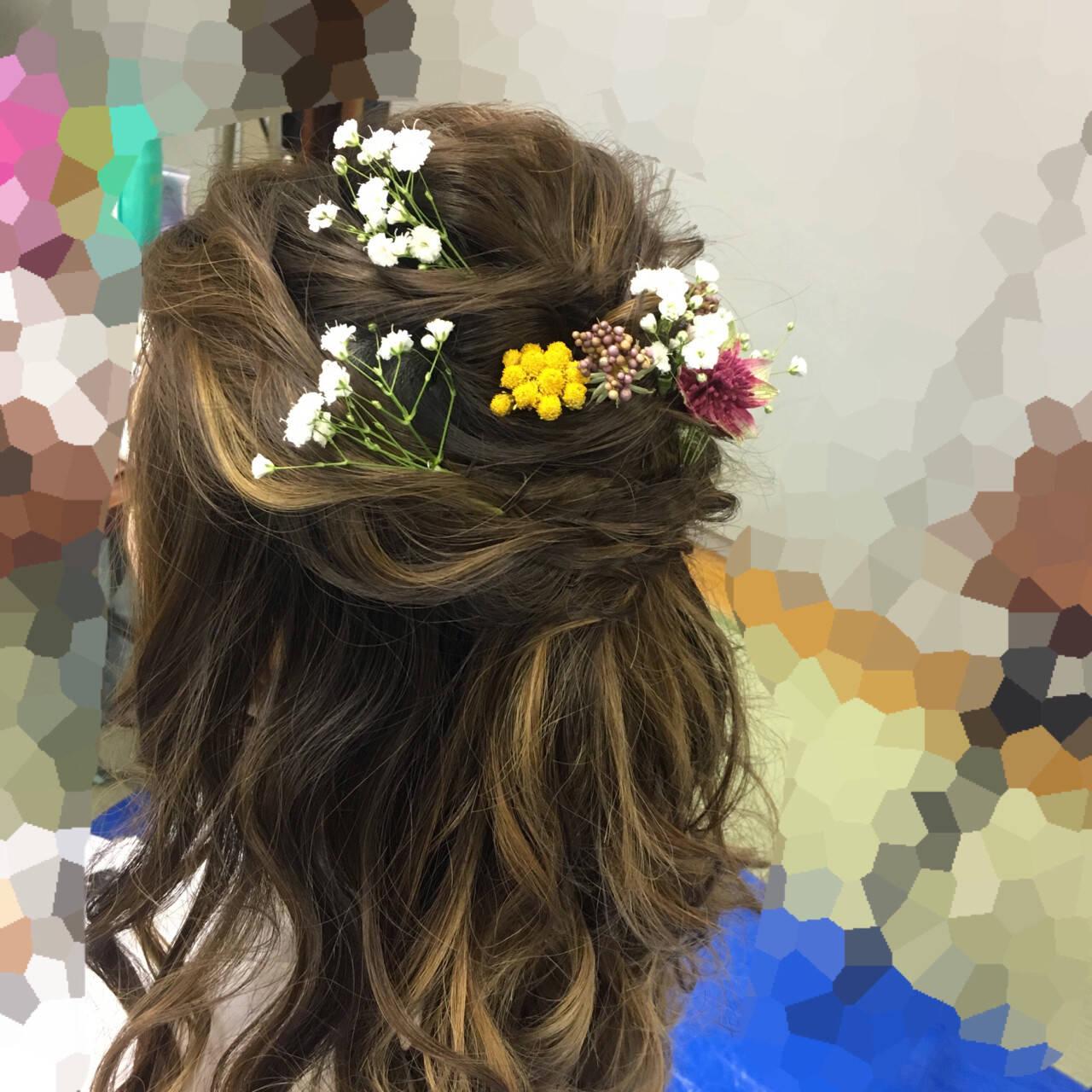 謝恩会 フェミニン ロング ヘアアレンジヘアスタイルや髪型の写真・画像