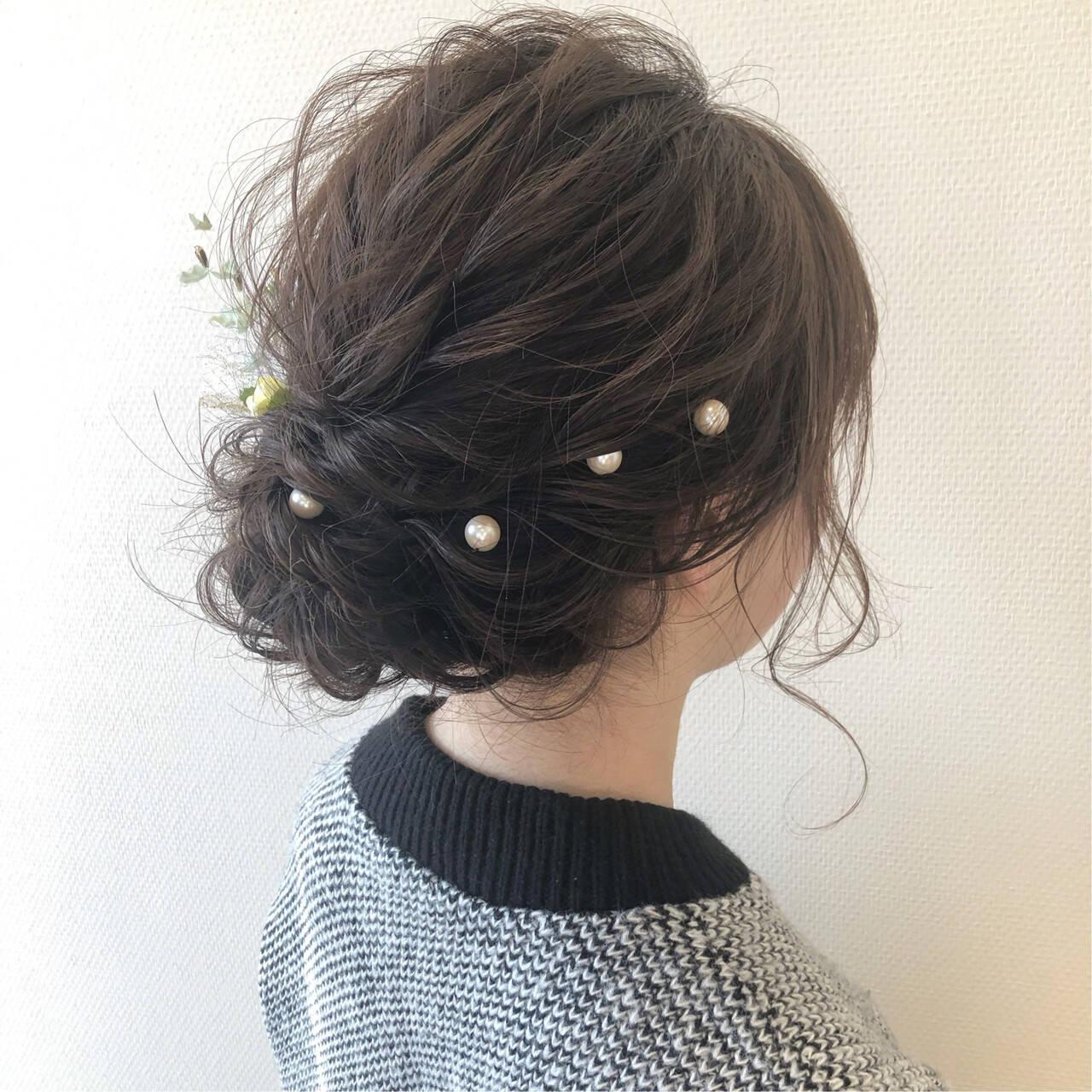 ヘアセット 卒業式 セミロング ヘアアレンジヘアスタイルや髪型の写真・画像