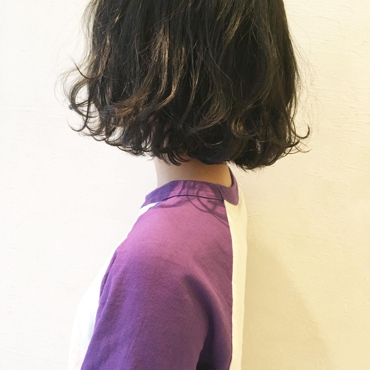 ナチュラル ボブ アッシュ グラデーションカラーヘアスタイルや髪型の写真・画像