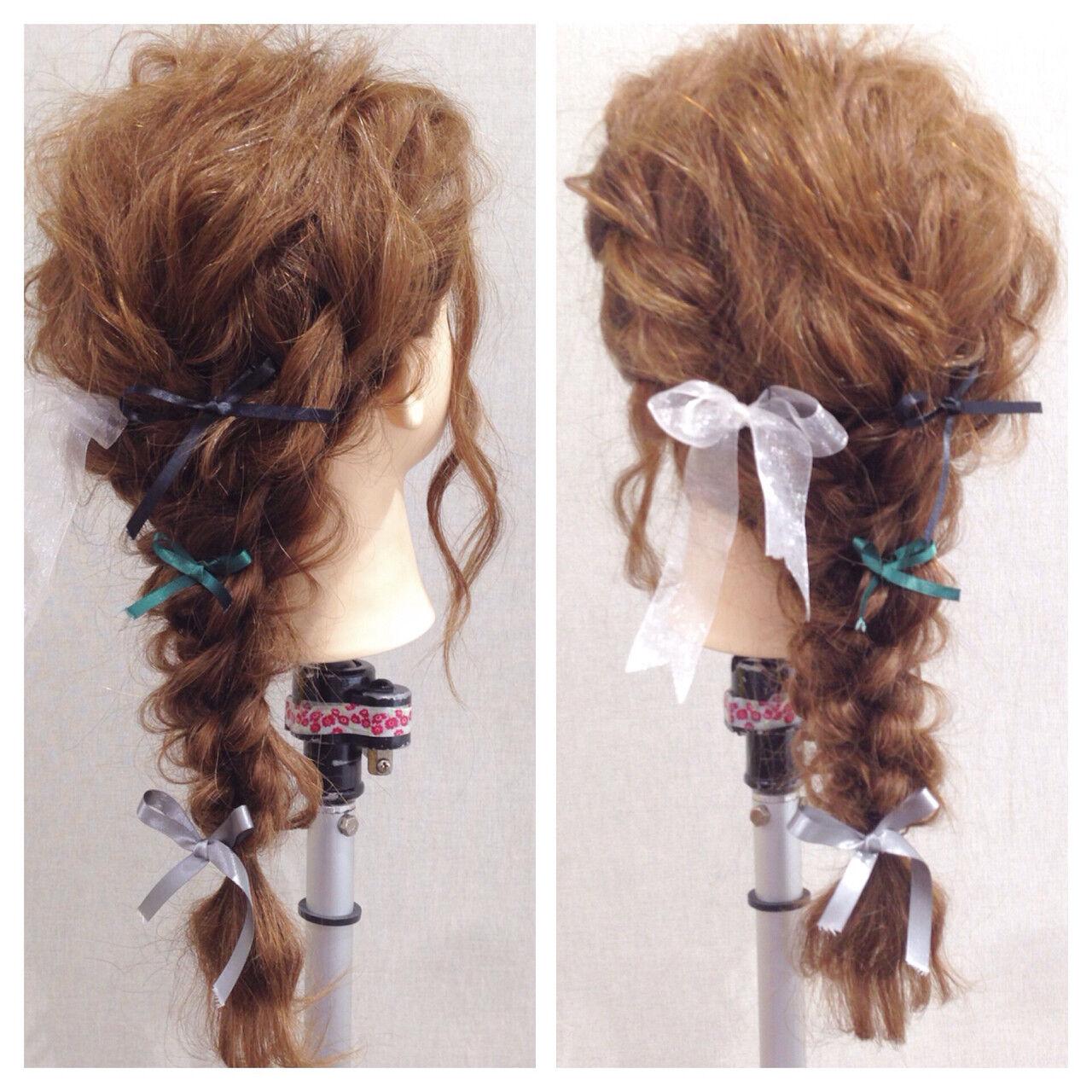 ヘアアレンジ ロング ラフ 編み込みヘアスタイルや髪型の写真・画像