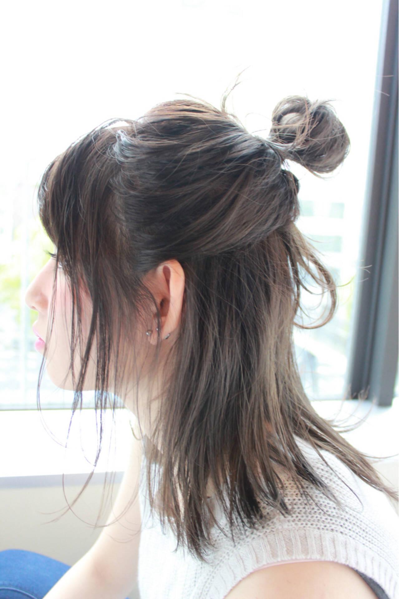 グレージュ ロブ ナチュラル 簡単ヘアアレンジヘアスタイルや髪型の写真・画像