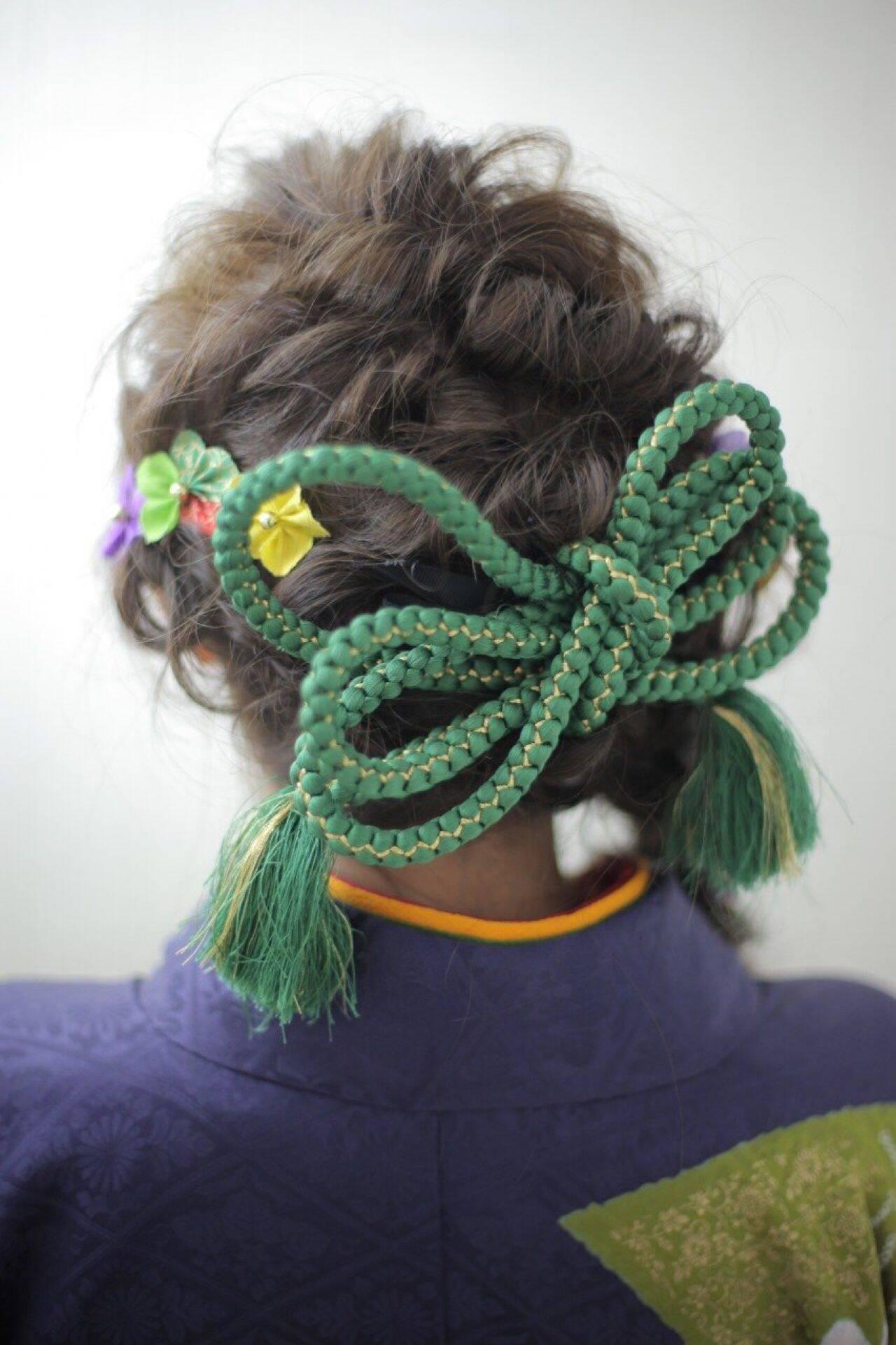 編み込み 着物 ゆるふわ ヘアアレンジヘアスタイルや髪型の写真・画像