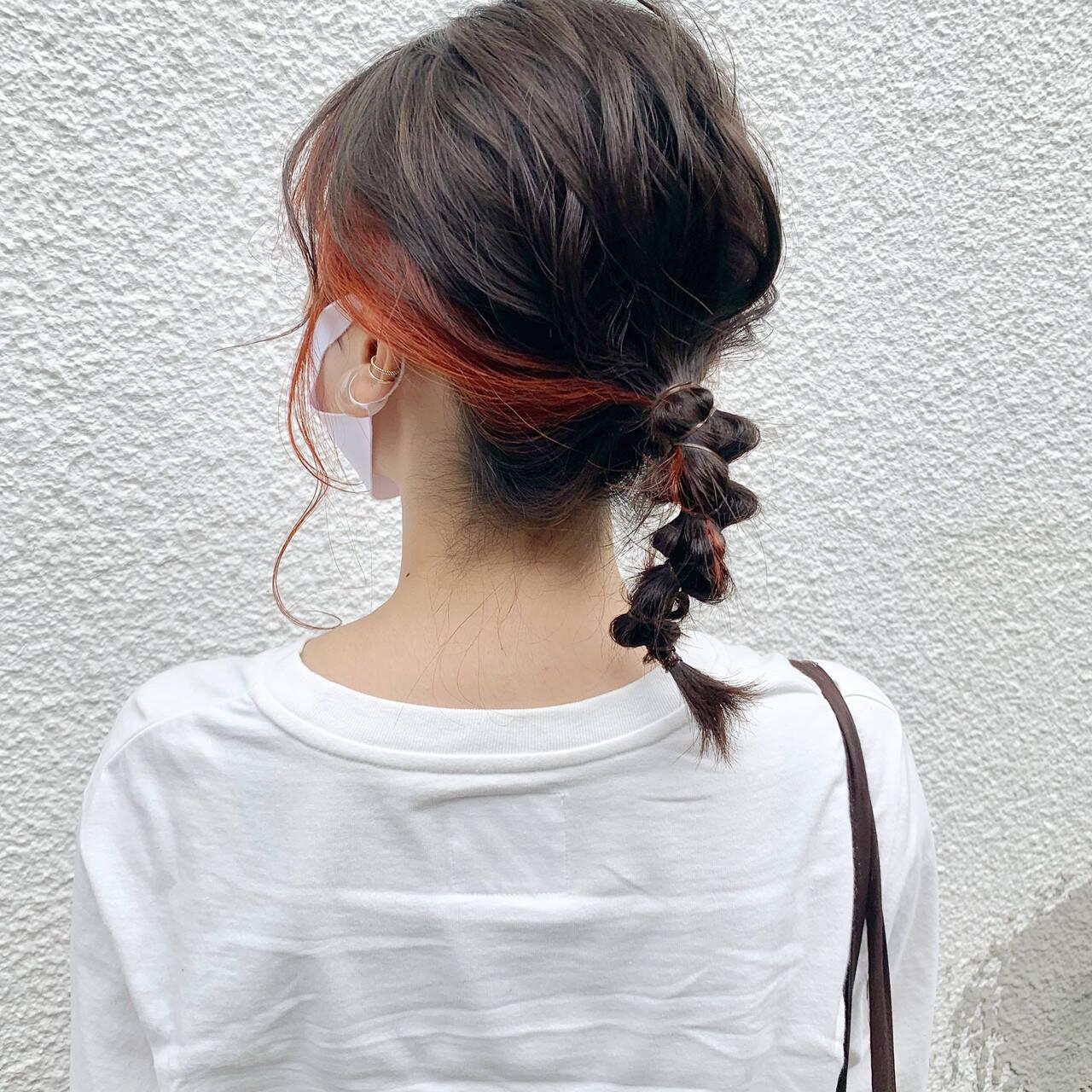 ヘアアレンジ ミディアム ラーメンマンヘア 簡単ヘアアレンジヘアスタイルや髪型の写真・画像