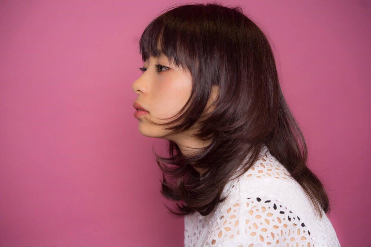 ピンク フェミニン ウルフカット ピンクアッシュヘアスタイルや髪型の写真・画像