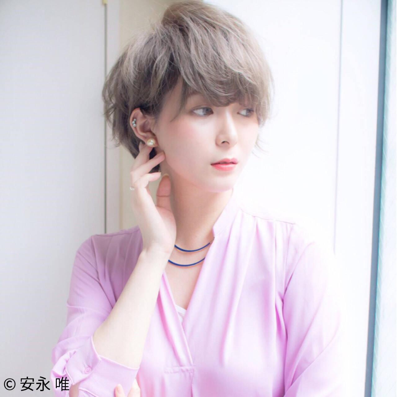 ハイトーン ショート 大人かわいい 大人女子ヘアスタイルや髪型の写真・画像