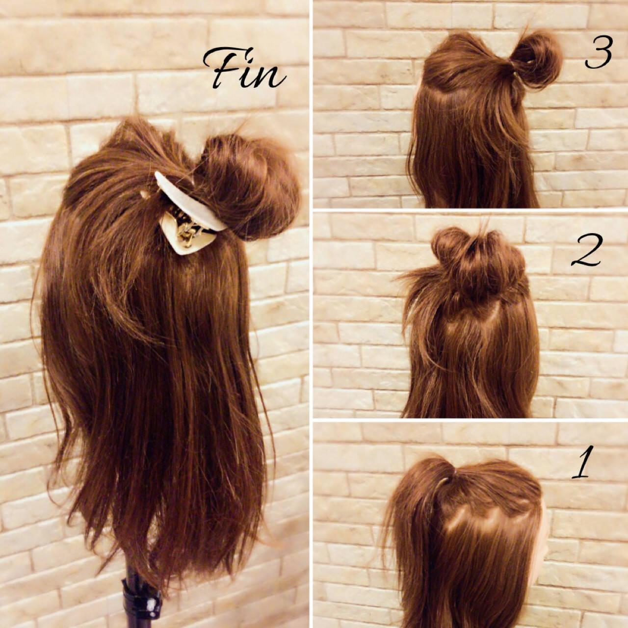 ヘアアレンジ 三角クリップ 簡単ヘアアレンジ ミディアムヘアスタイルや髪型の写真・画像
