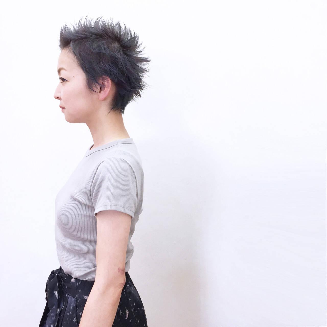 ストリート ショート ベリーショート ウェットヘアヘアスタイルや髪型の写真・画像