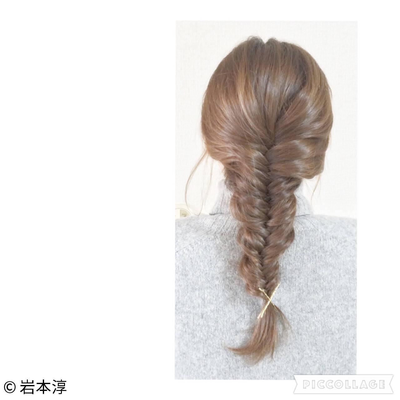 フィッシュボーン ショート 簡単ヘアアレンジ ヘアアクセヘアスタイルや髪型の写真・画像