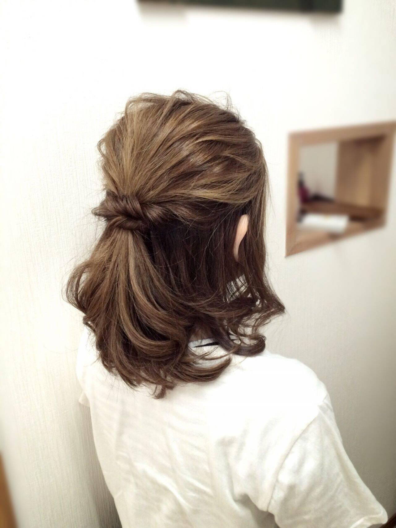 ナチュラル アップスタイル ヘアアレンジ ハーフアップヘアスタイルや髪型の写真・画像