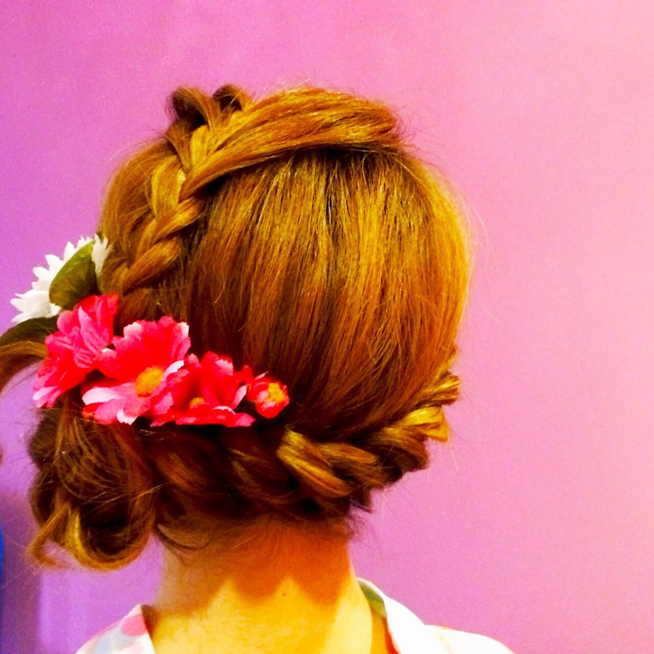 編み込み ロング ねじり かわいいヘアスタイルや髪型の写真・画像