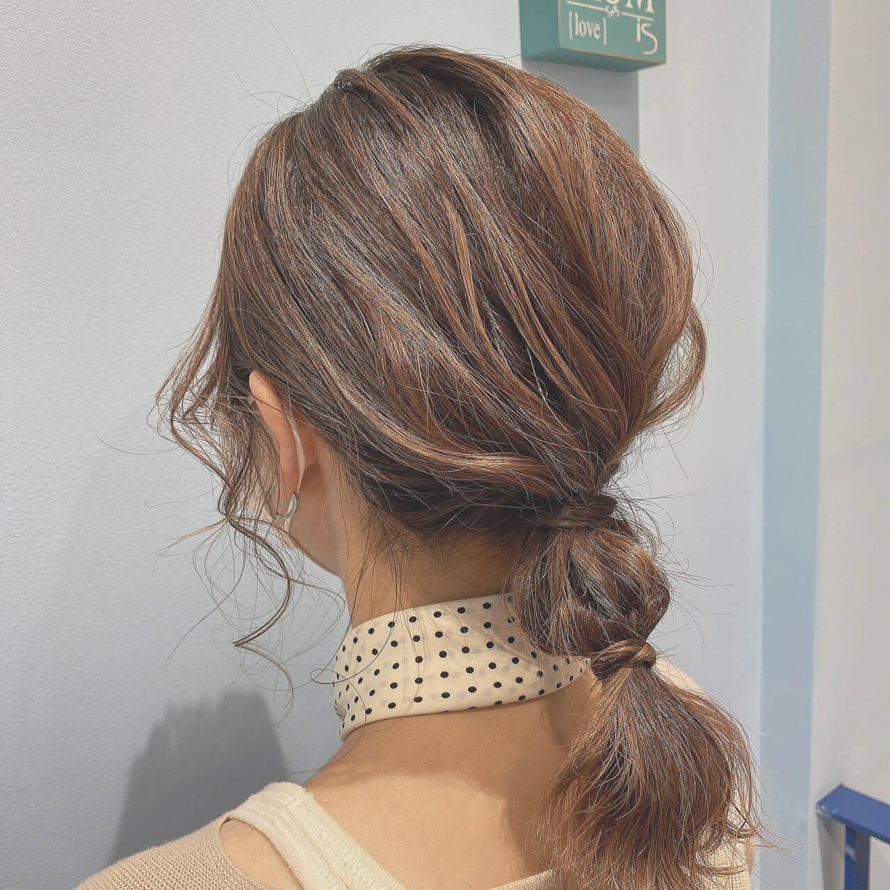 ローポニー ベージュ ヘアアレンジ 簡単ヘアアレンジヘアスタイルや髪型の写真・画像