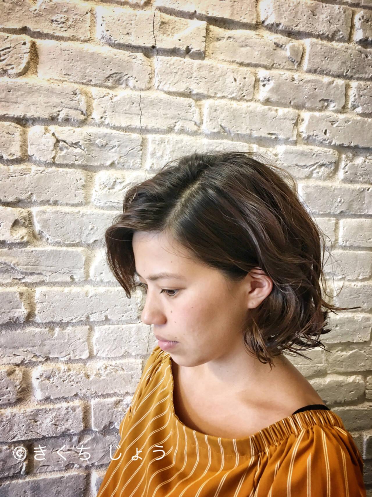 上品 ウェットヘア 切りっぱなし ボブヘアスタイルや髪型の写真・画像