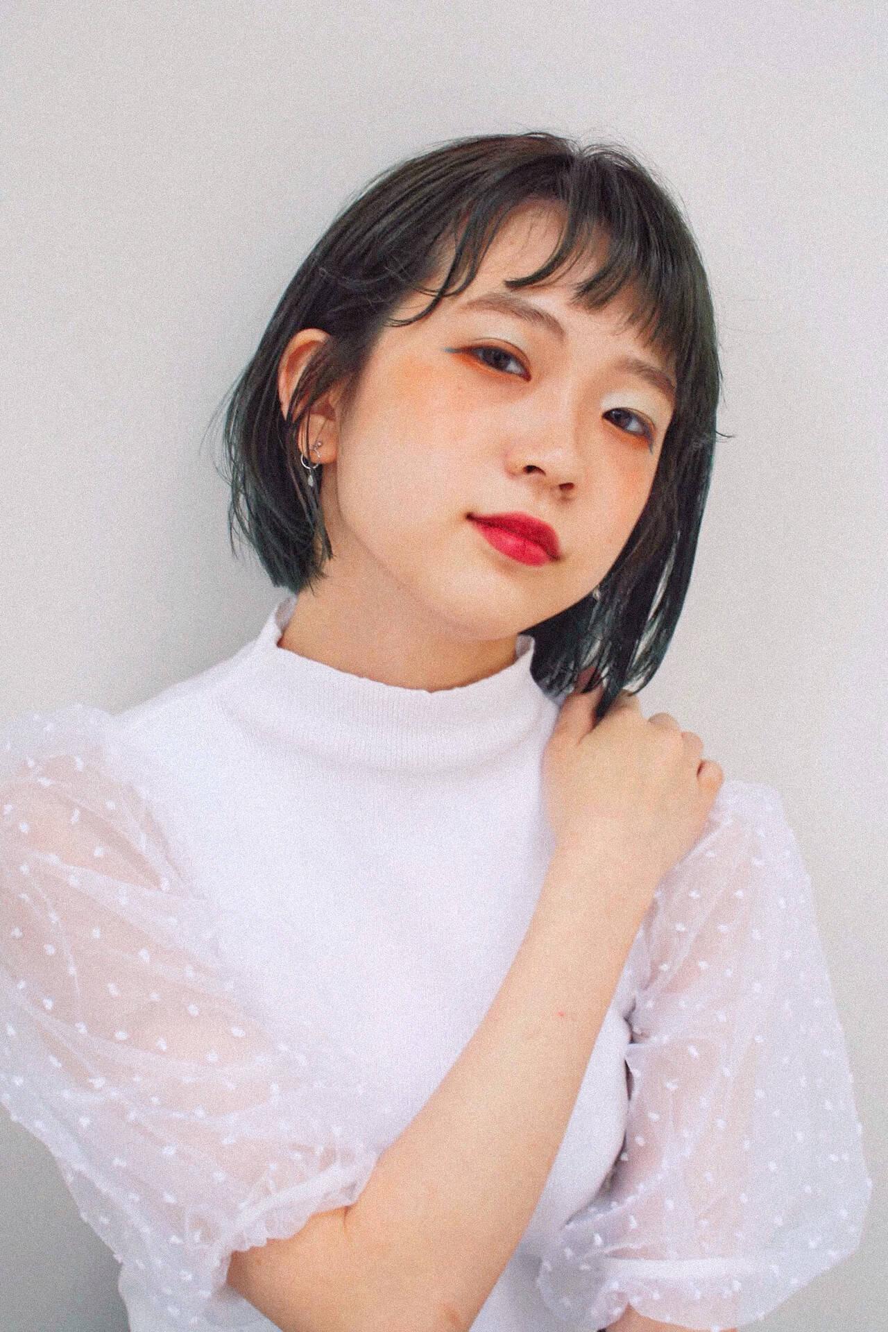 ガーリー ミニボブ 韓国ヘア 韓国ヘアスタイルや髪型の写真・画像