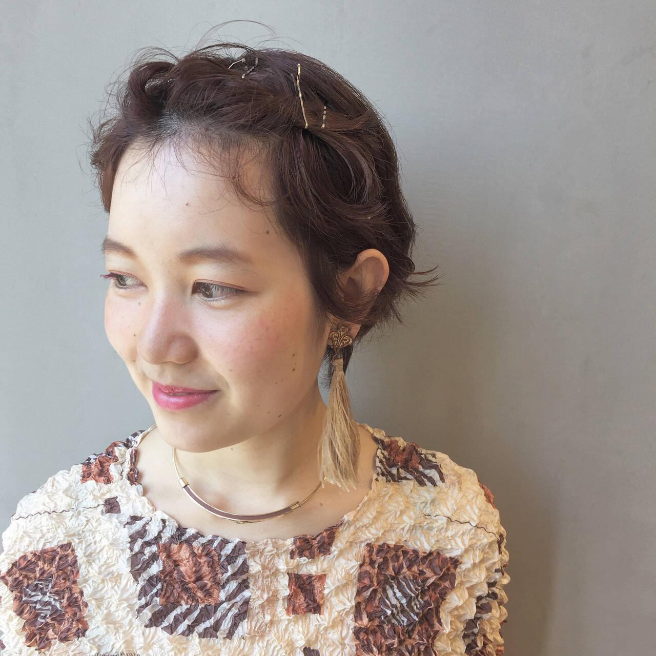 カッパー 簡単ヘアアレンジ ショート 夏ヘアスタイルや髪型の写真・画像