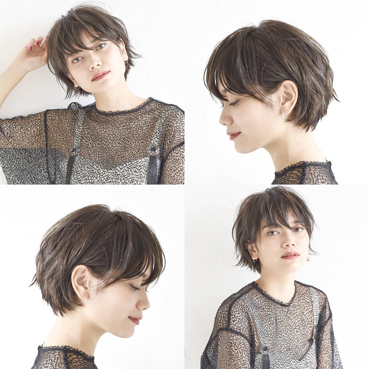 ショートボブ アンニュイほつれヘア デート ショートヘアスタイルや髪型の写真・画像
