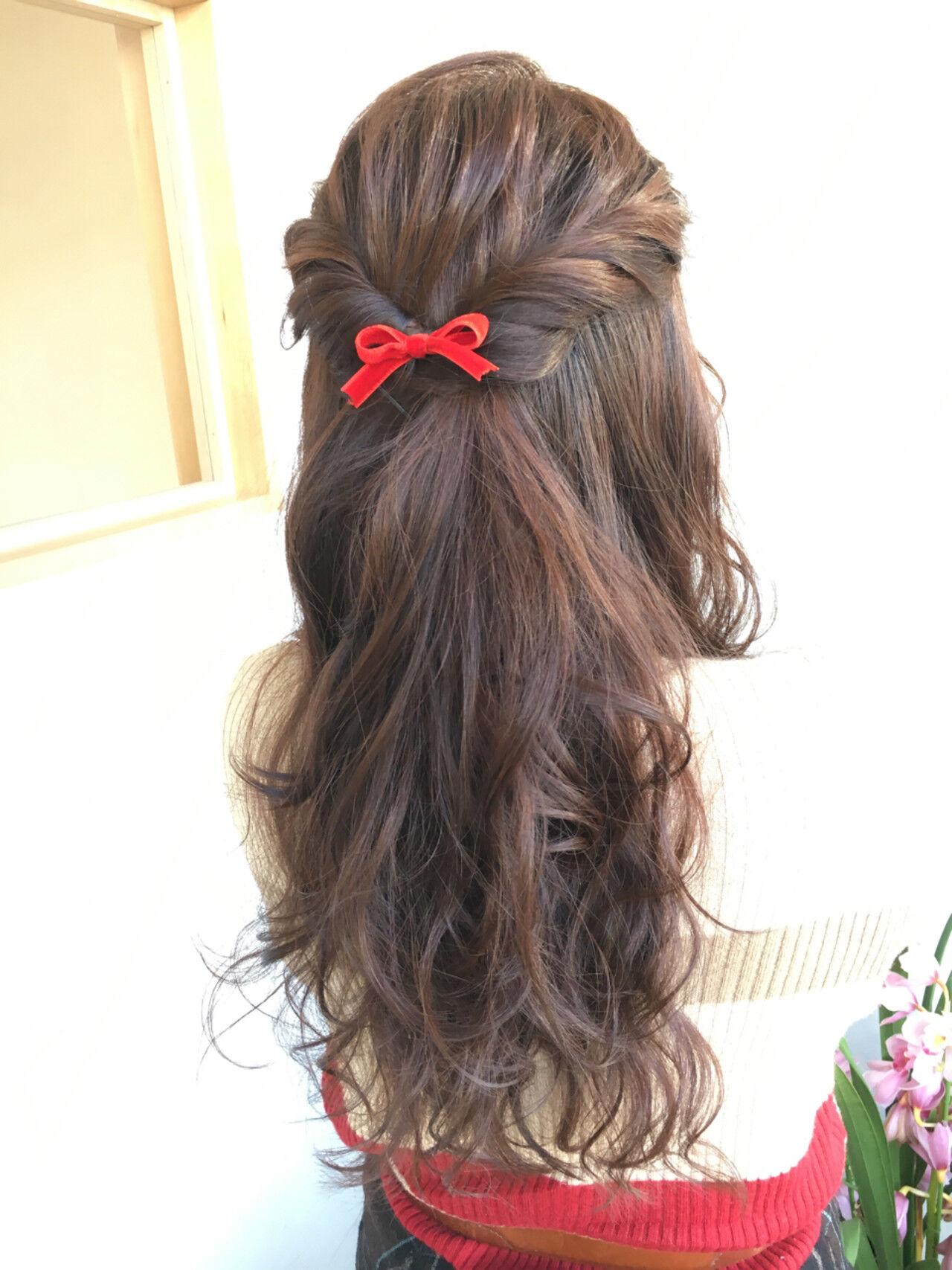 大人かわいい ヘアアレンジ ロング フェミニンヘアスタイルや髪型の写真・画像