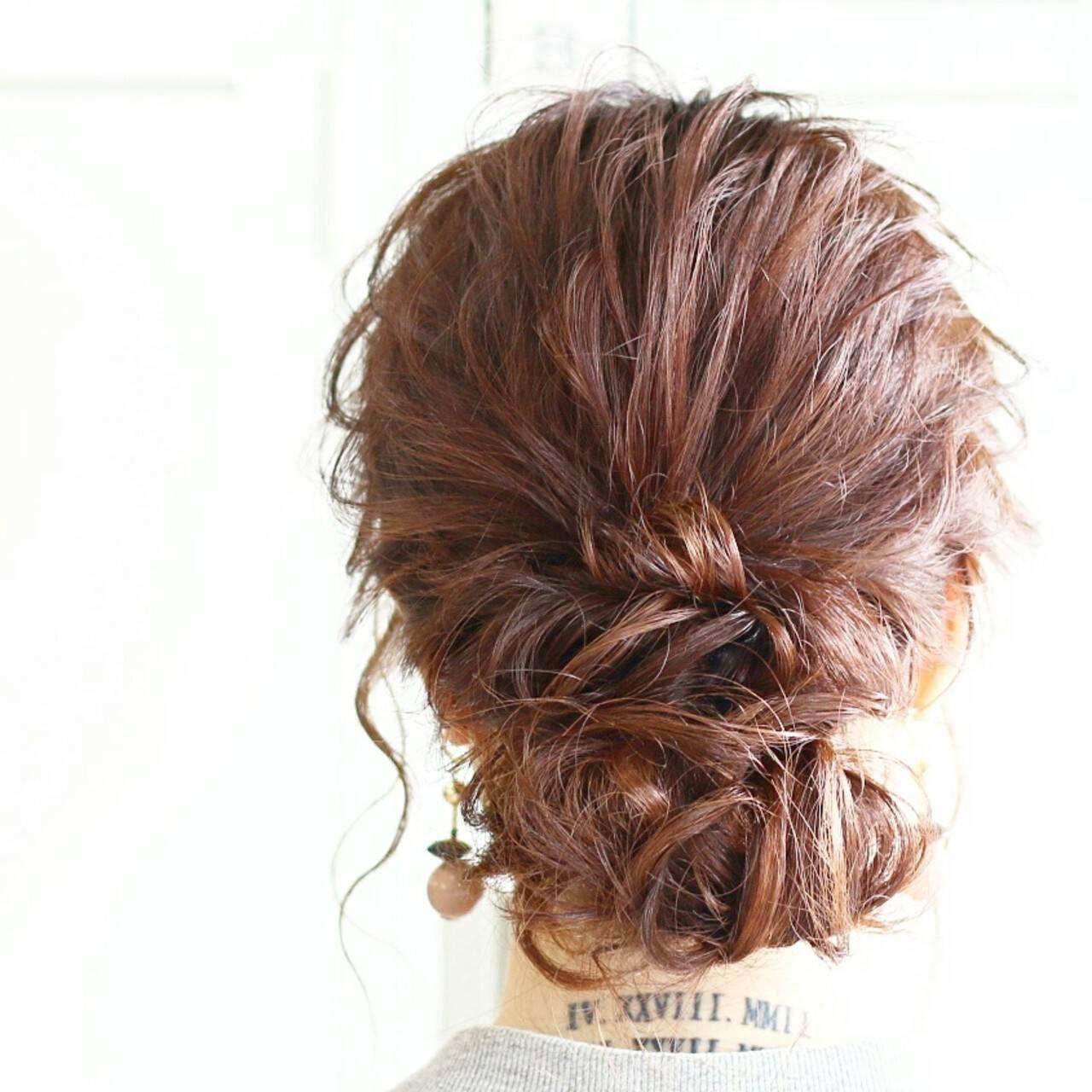 エレガント 結婚式 ショート ゆるふわヘアスタイルや髪型の写真・画像