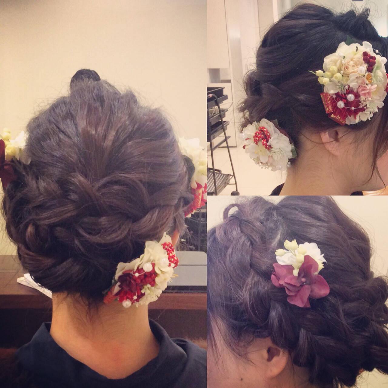 セミロング ヘアアレンジ 結婚式 フェミニンヘアスタイルや髪型の写真・画像