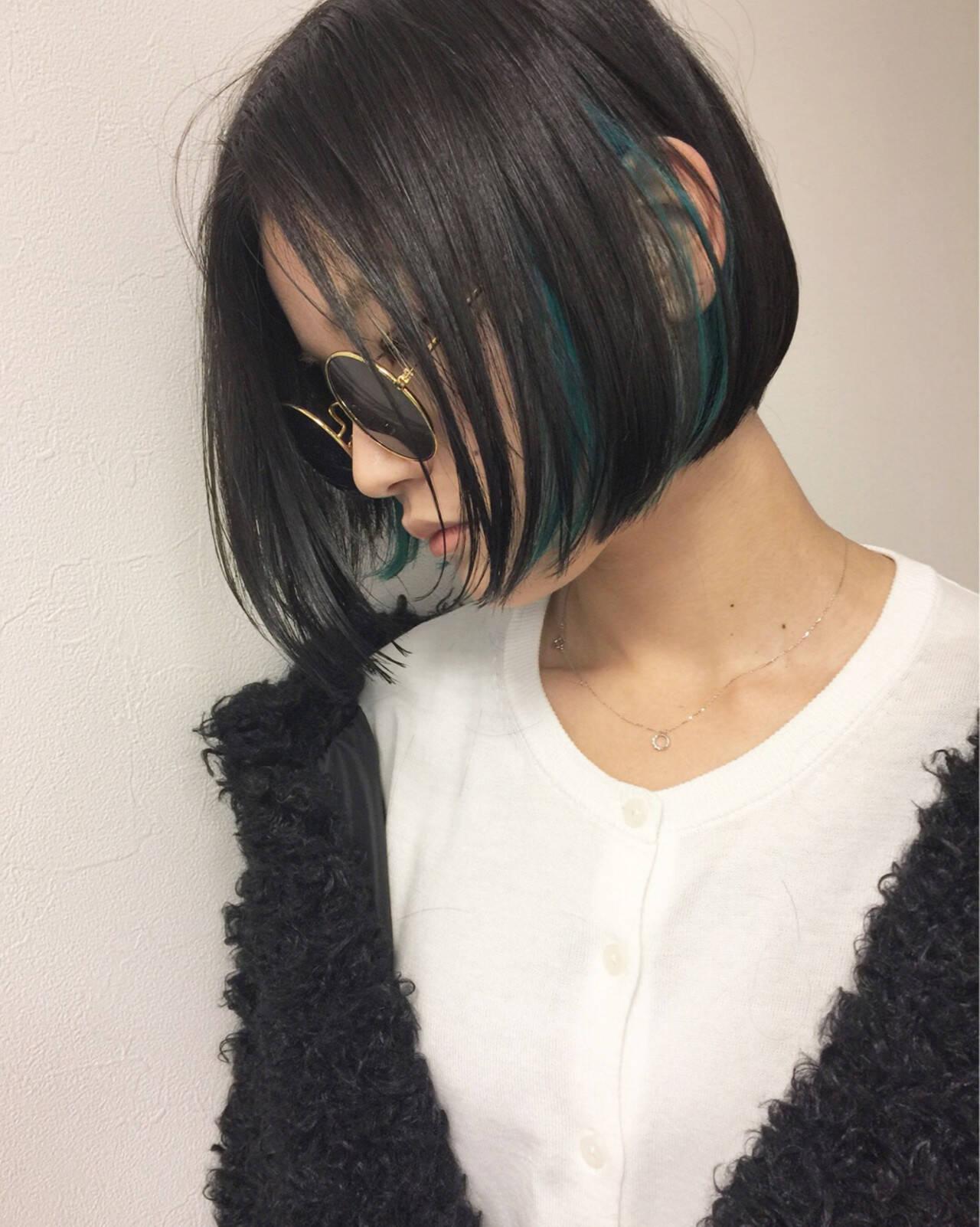 ストリート インナーカラー モード ボブヘアスタイルや髪型の写真・画像