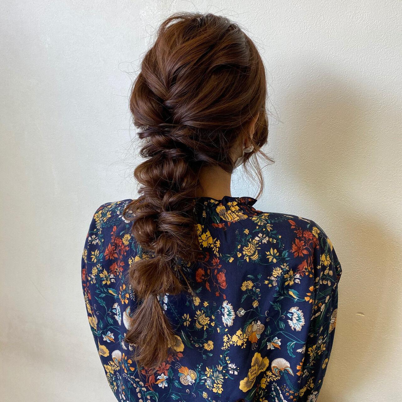 ガーリー 編みおろしヘア 編みおろし 結婚式ヘアアレンジヘアスタイルや髪型の写真・画像