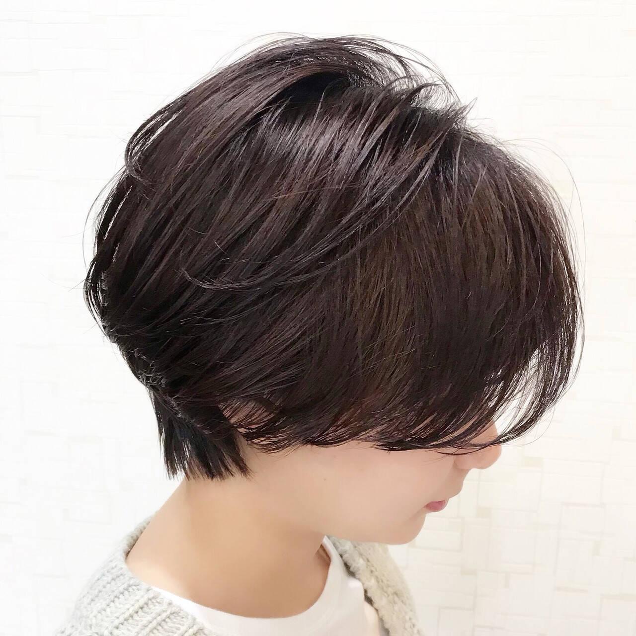 ナチュラル ショートボブ ショート かっこいいヘアスタイルや髪型の写真・画像