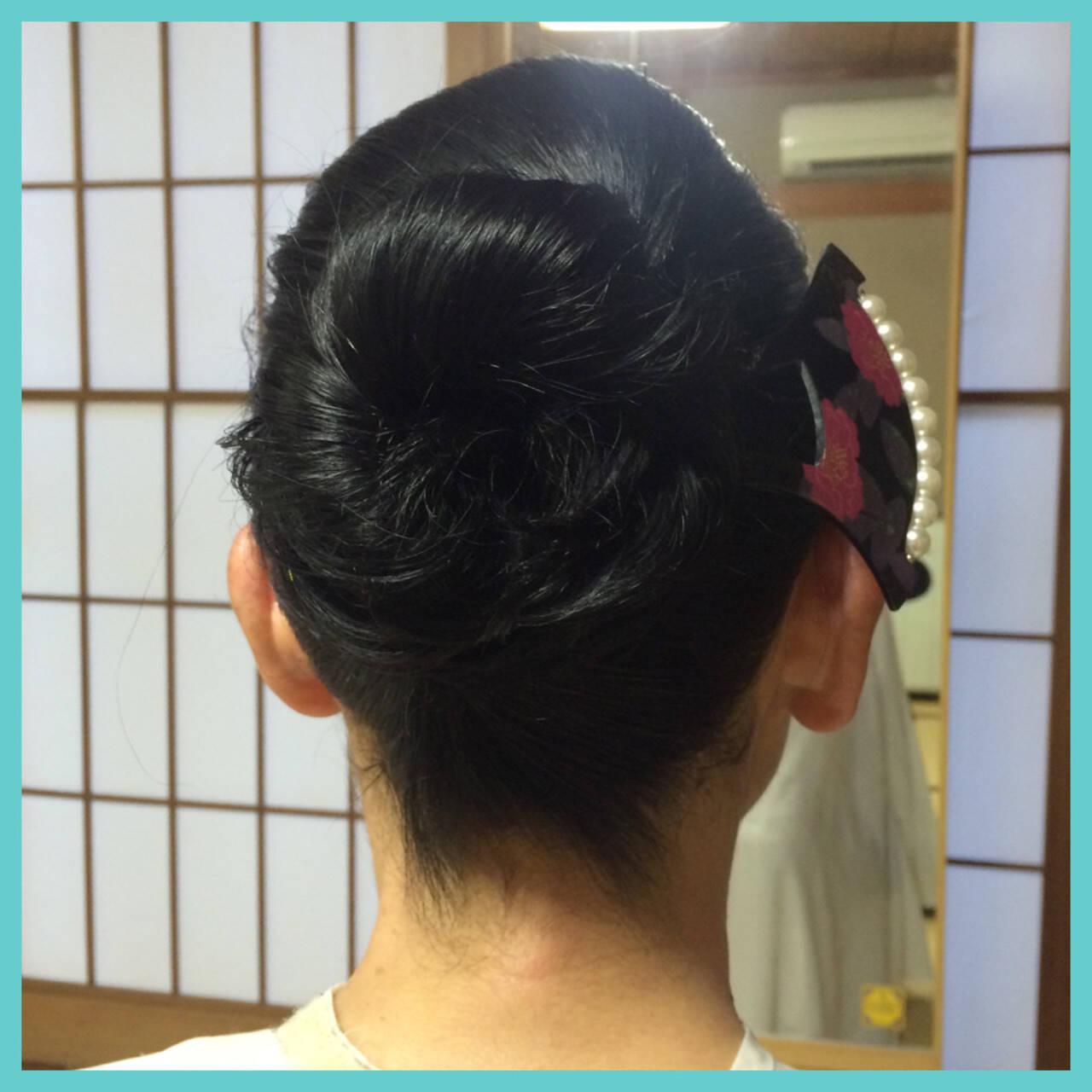 黒髪 着物 まとめ髪 セミロングヘアスタイルや髪型の写真・画像