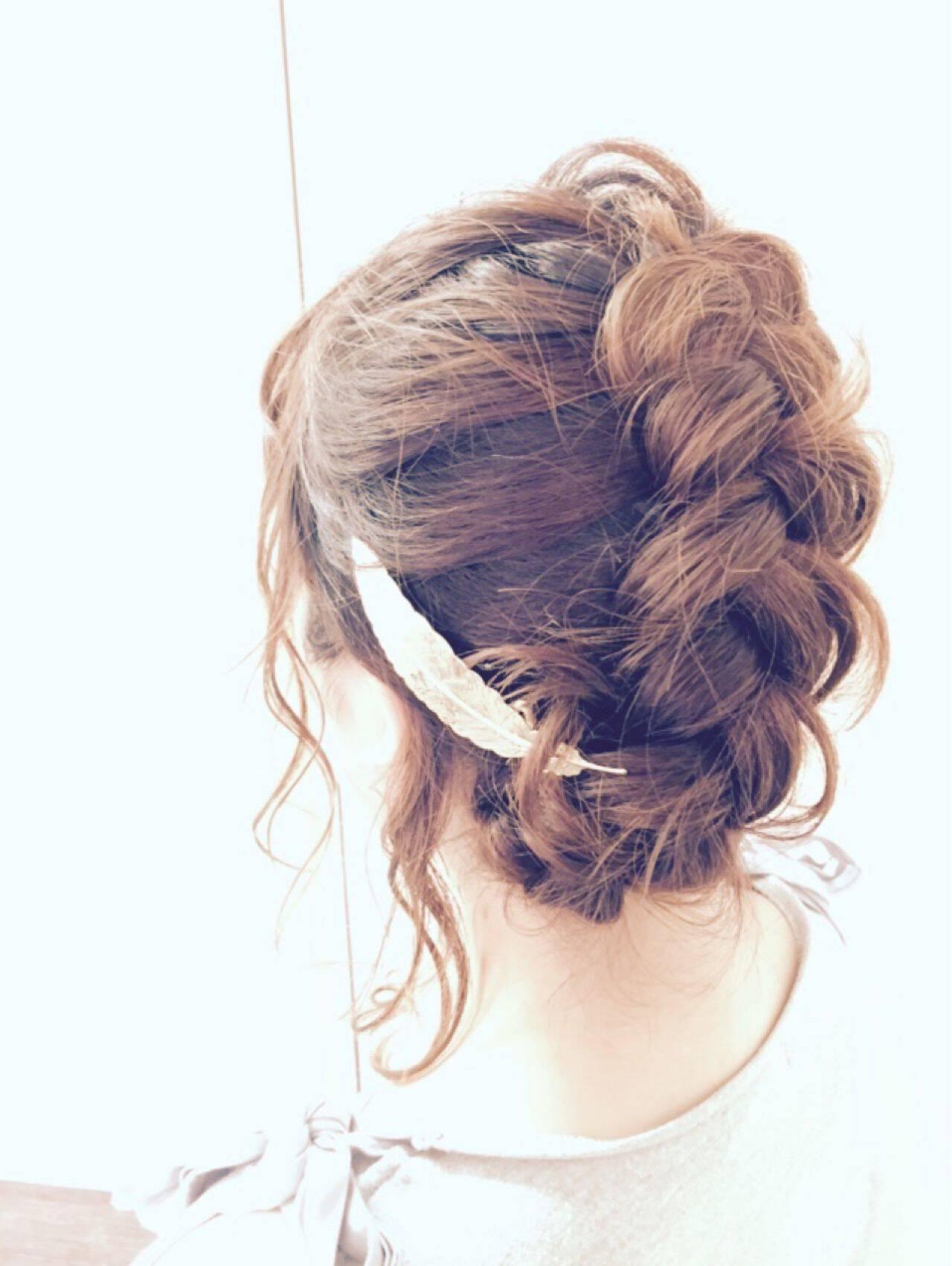 編み込み モテ髪 コンサバ フェミニンヘアスタイルや髪型の写真・画像