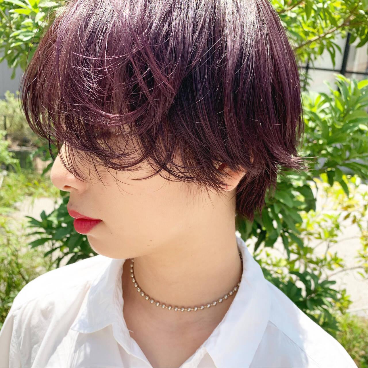 ピンクパープル ナチュラル パープルカラー ショートヘアスタイルや髪型の写真・画像