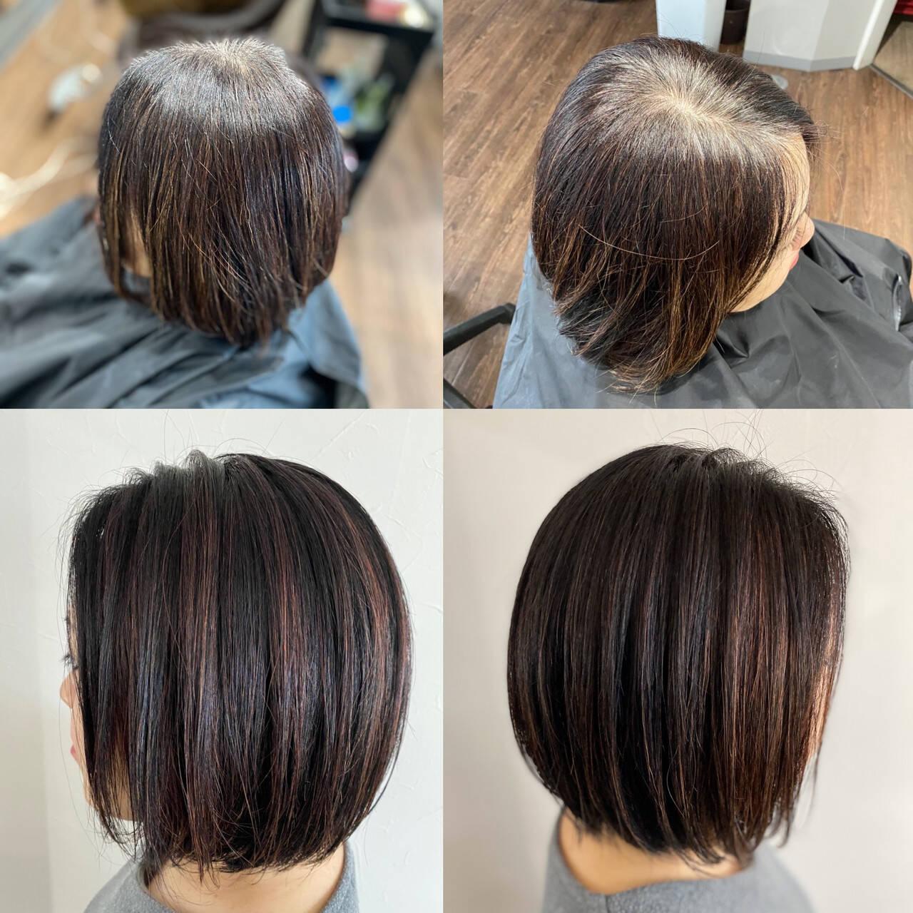ボブ ミニボブ モード 前下がりボブヘアスタイルや髪型の写真・画像