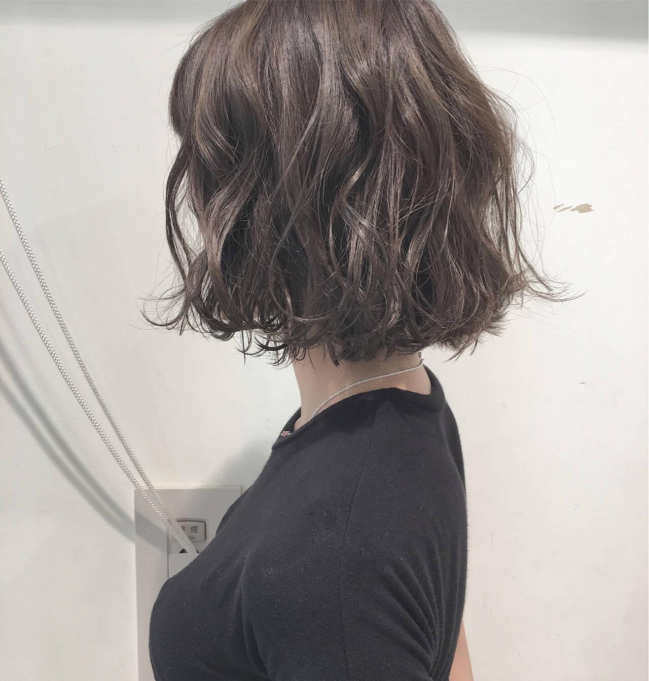 透明感 パーマ ナチュラル ボブヘアスタイルや髪型の写真・画像