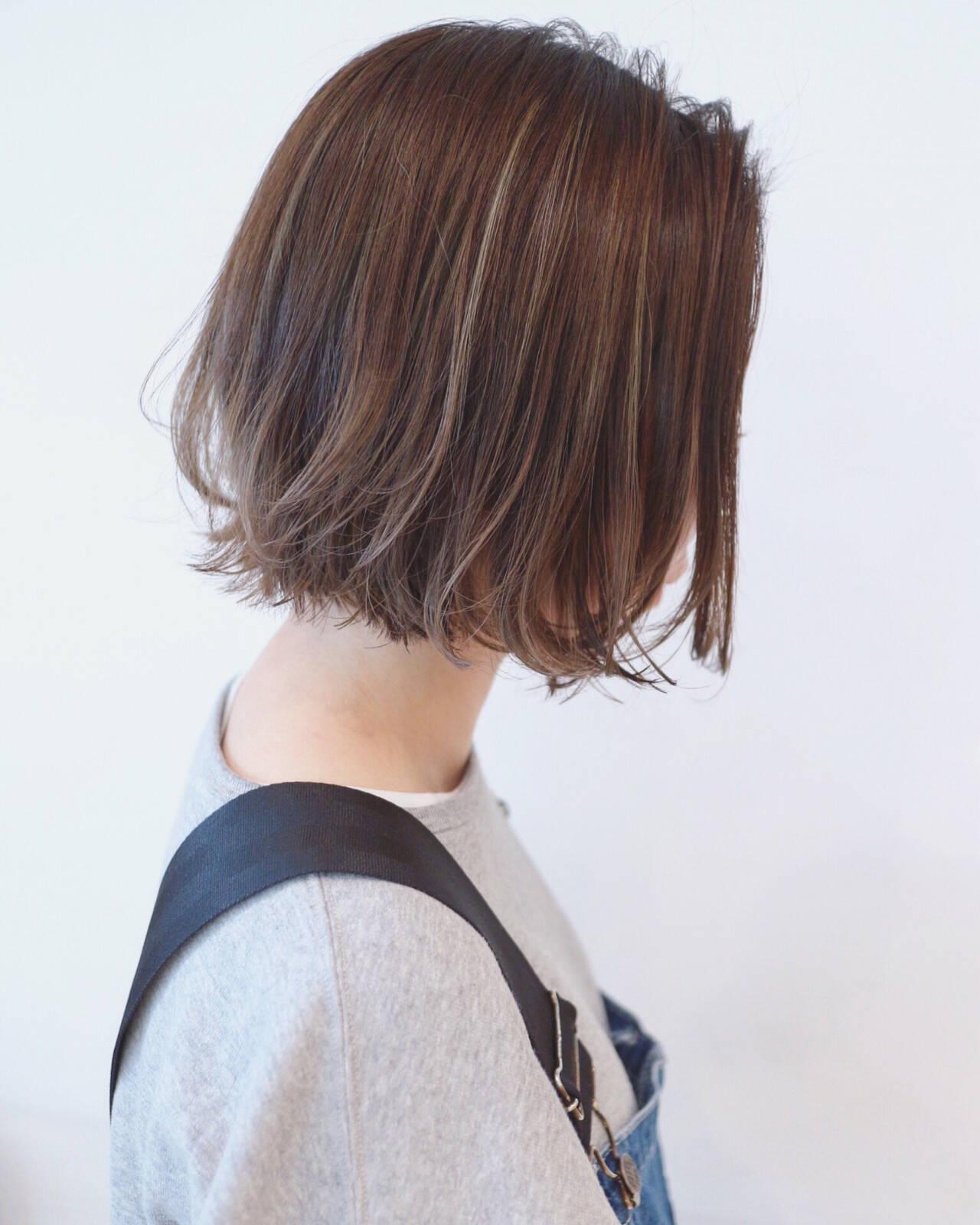 ナチュラルグラデーション ハイライト ボブ ストリートヘアスタイルや髪型の写真・画像