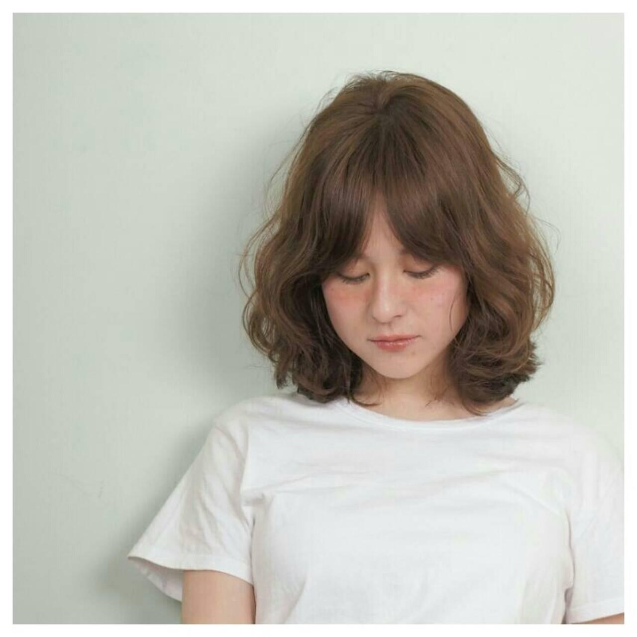 ストリート 外国人風 パーマ ミディアムヘアスタイルや髪型の写真・画像