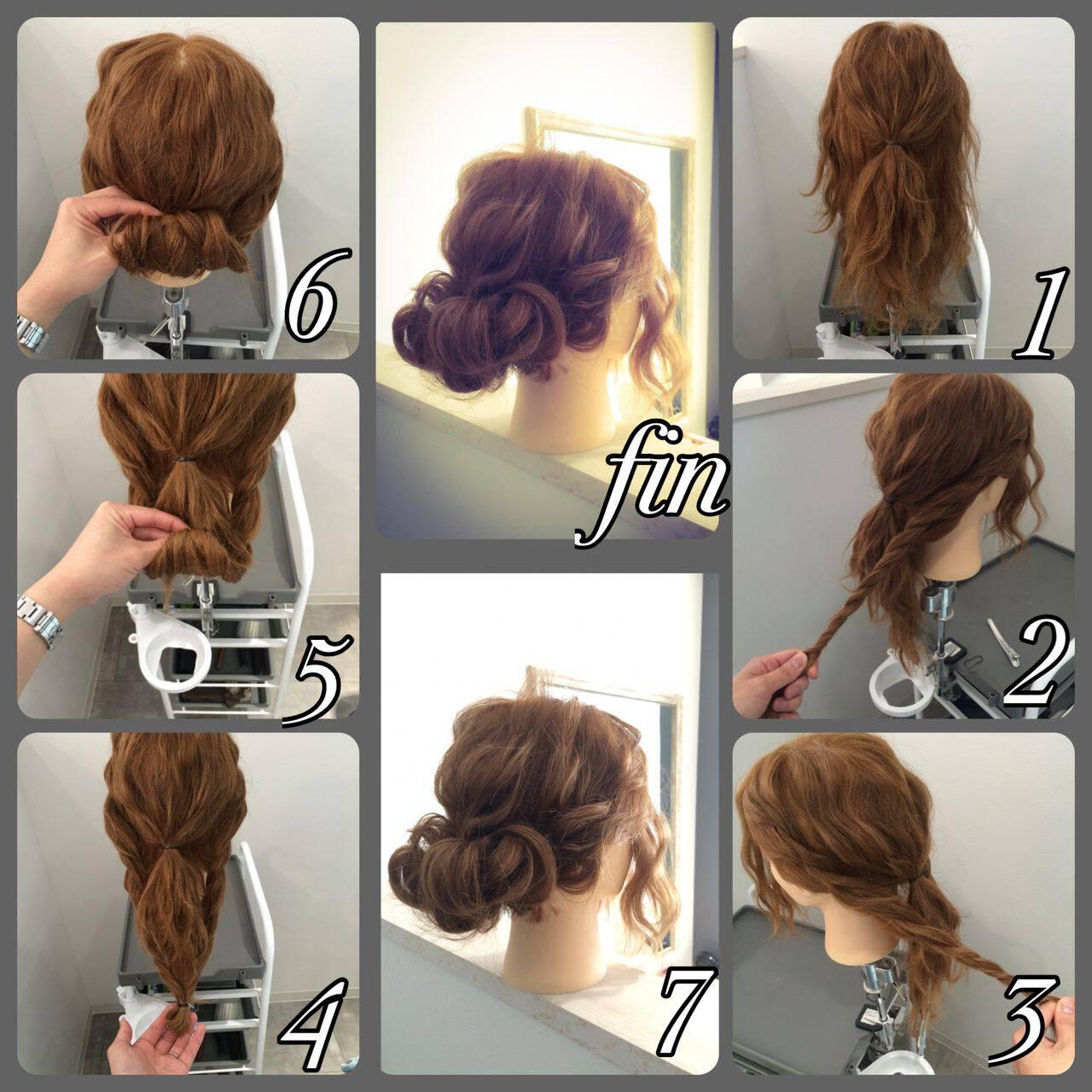 ショート ヘアアレンジ ギブソンタック 簡単ヘアアレンジヘアスタイルや髪型の写真・画像