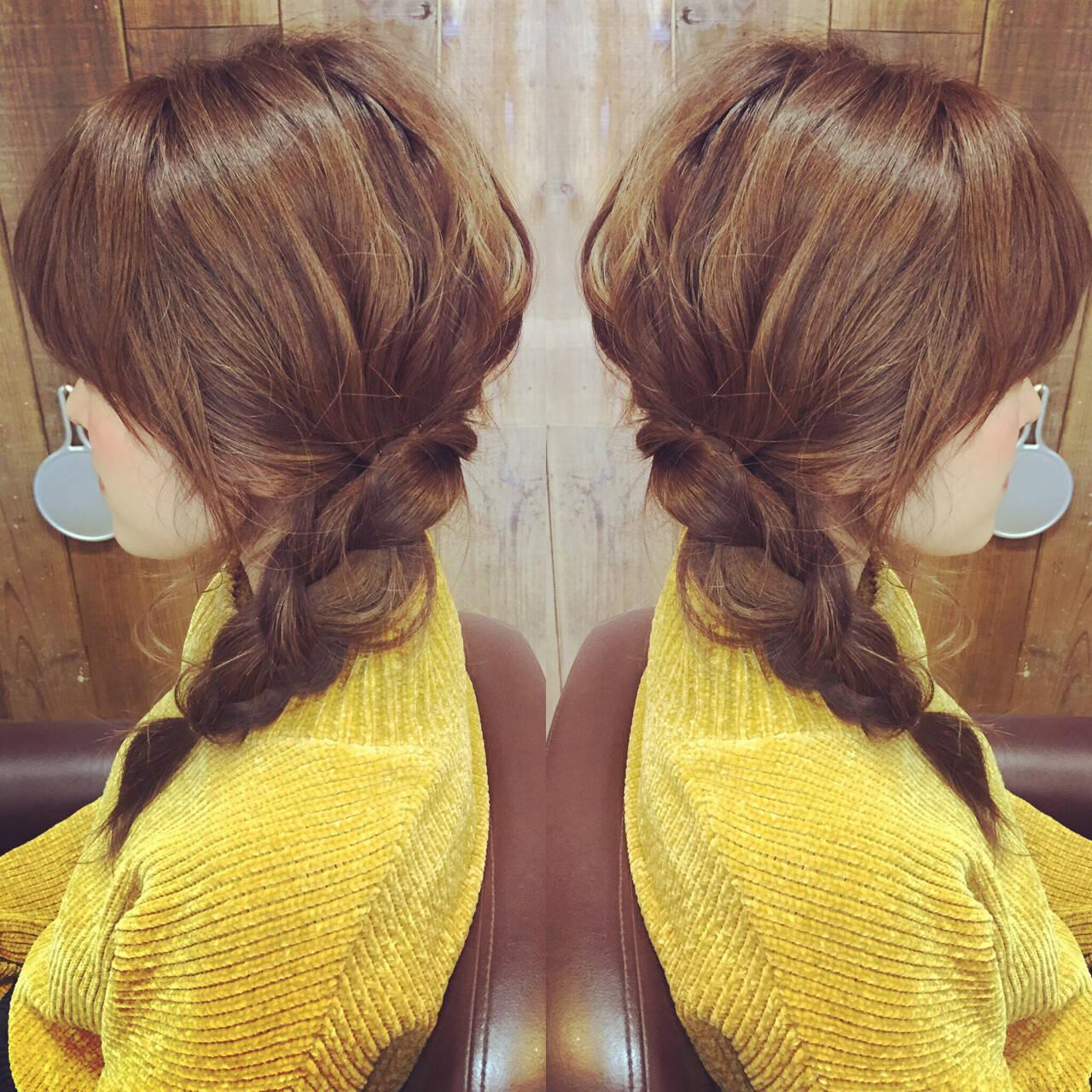ショート ヘアアレンジ 三つ編み ガーリーヘアスタイルや髪型の写真・画像