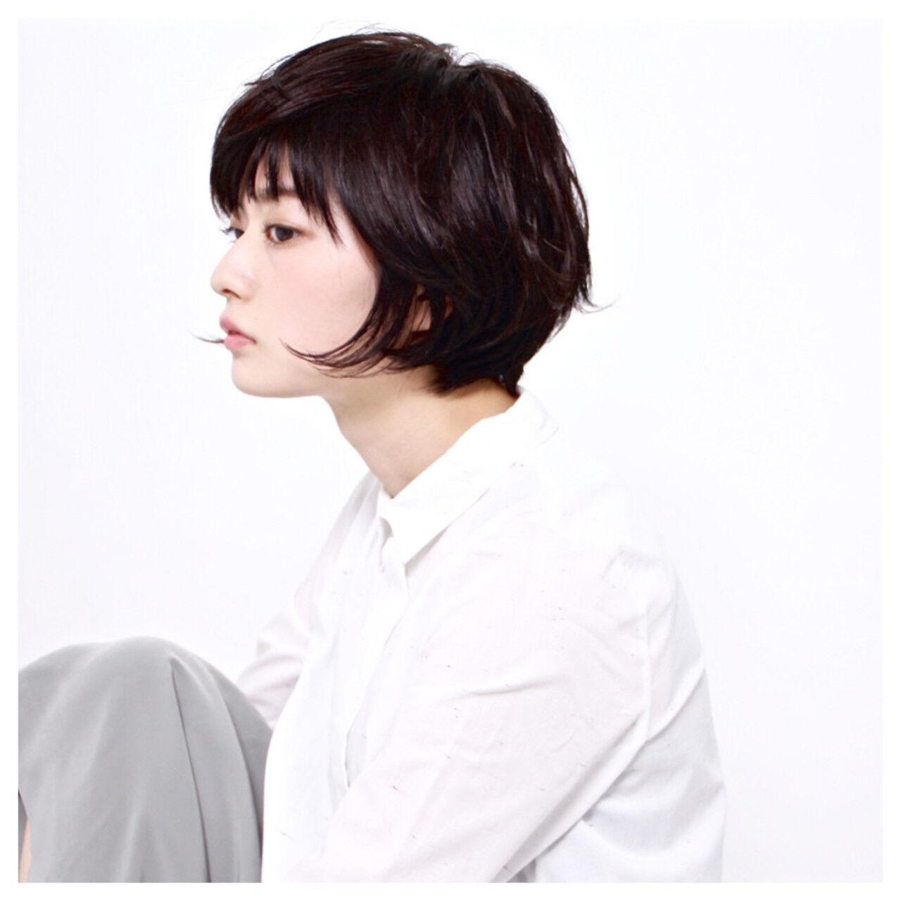 黒髪 前髪あり 大人かわいい ショートボブヘアスタイルや髪型の写真・画像