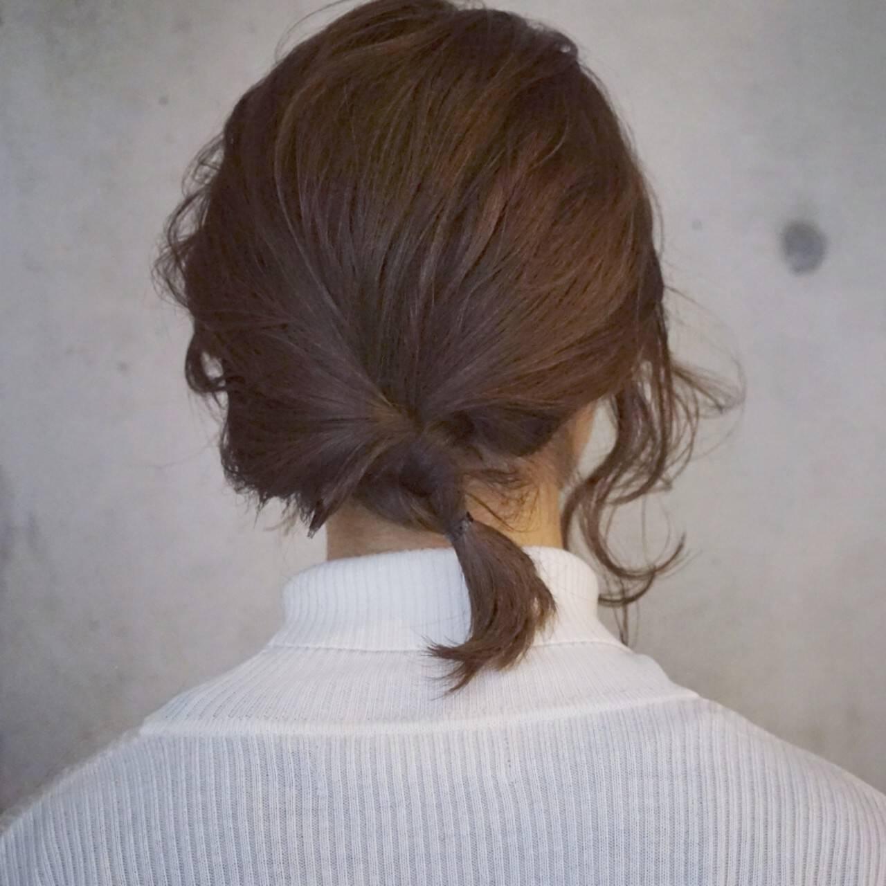 簡単ヘアアレンジ くるりんぱ ショート ヘアアレンジヘアスタイルや髪型の写真・画像