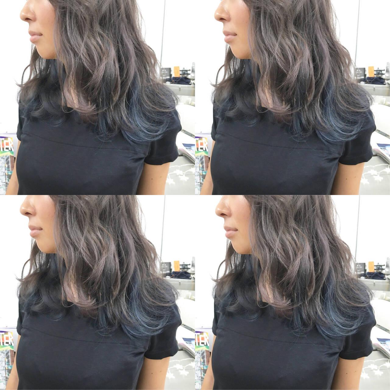 インナーカラー ミディアム ストリート 外国人風カラーヘアスタイルや髪型の写真・画像