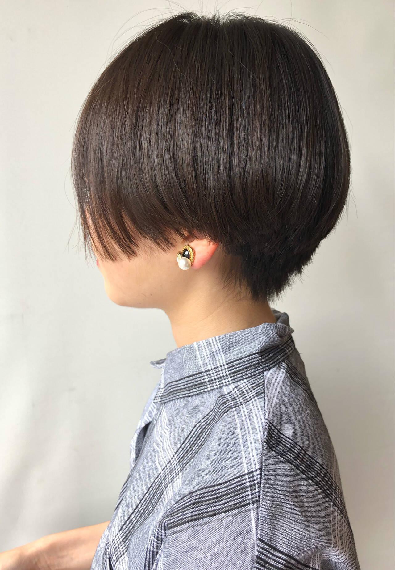黒髪 ハンサムショート ベリーショート ショートヘアスタイルや髪型の写真・画像