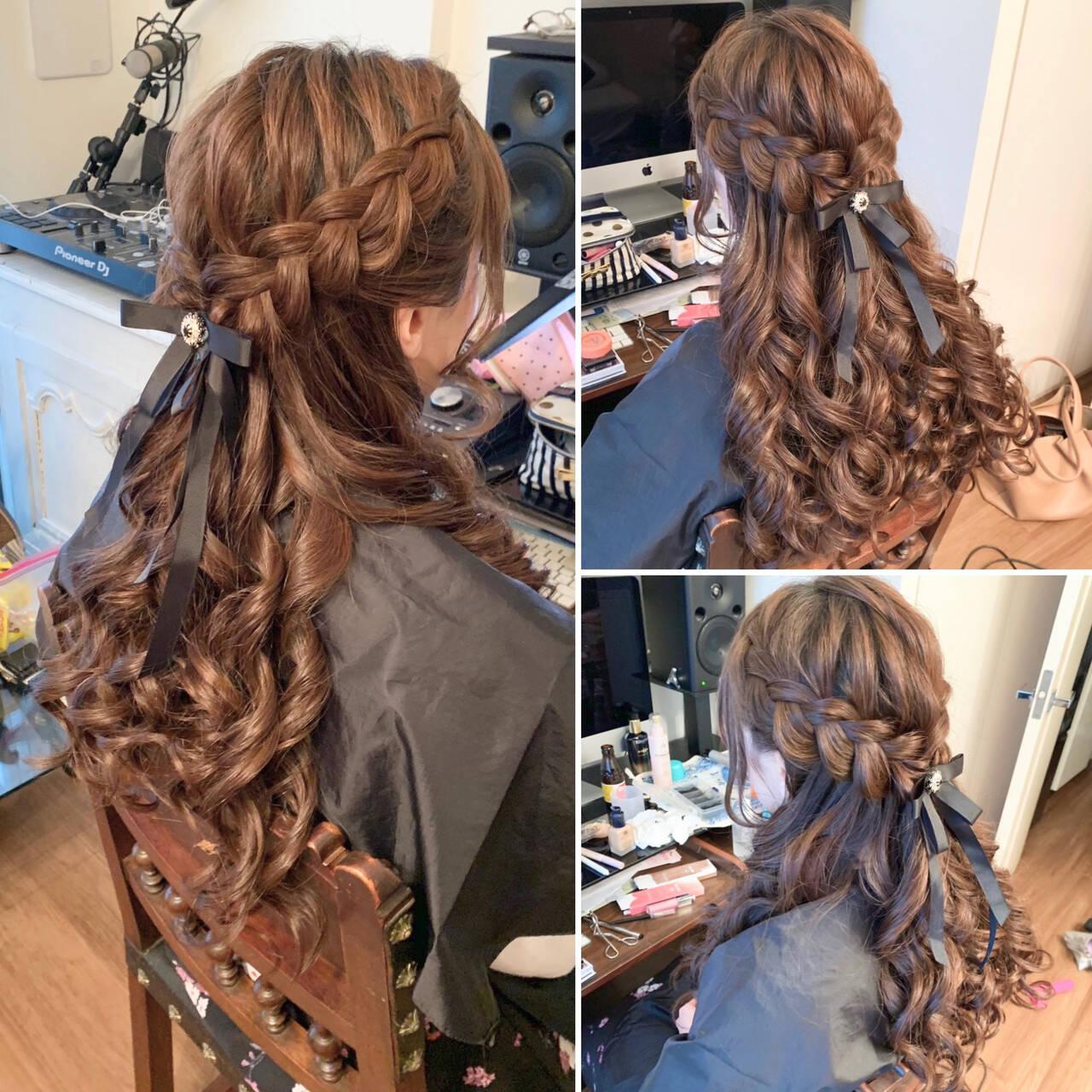 ハーフアップ ガーリー ゴージャス 編み込みヘアヘアスタイルや髪型の写真・画像