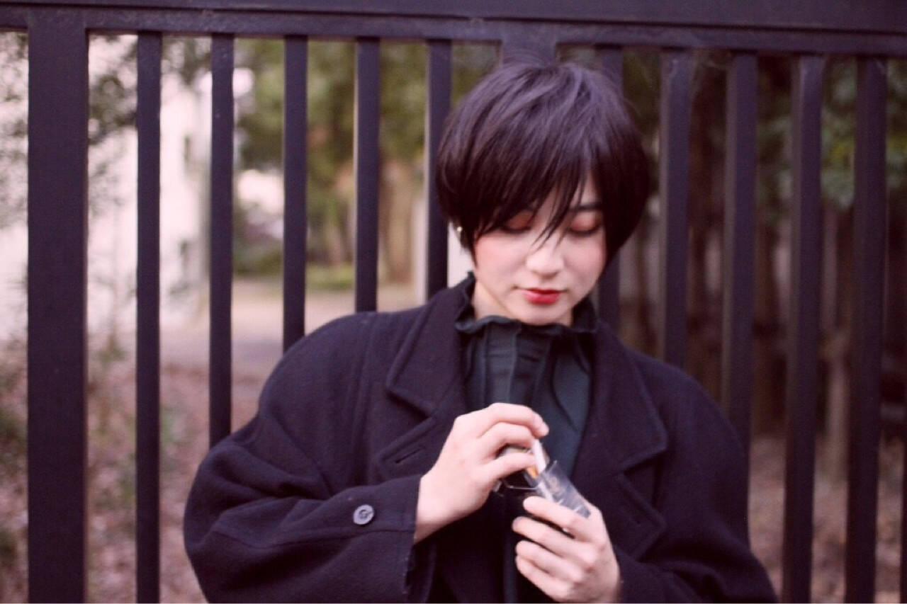 黒髪 ショート モード 前髪ありヘアスタイルや髪型の写真・画像
