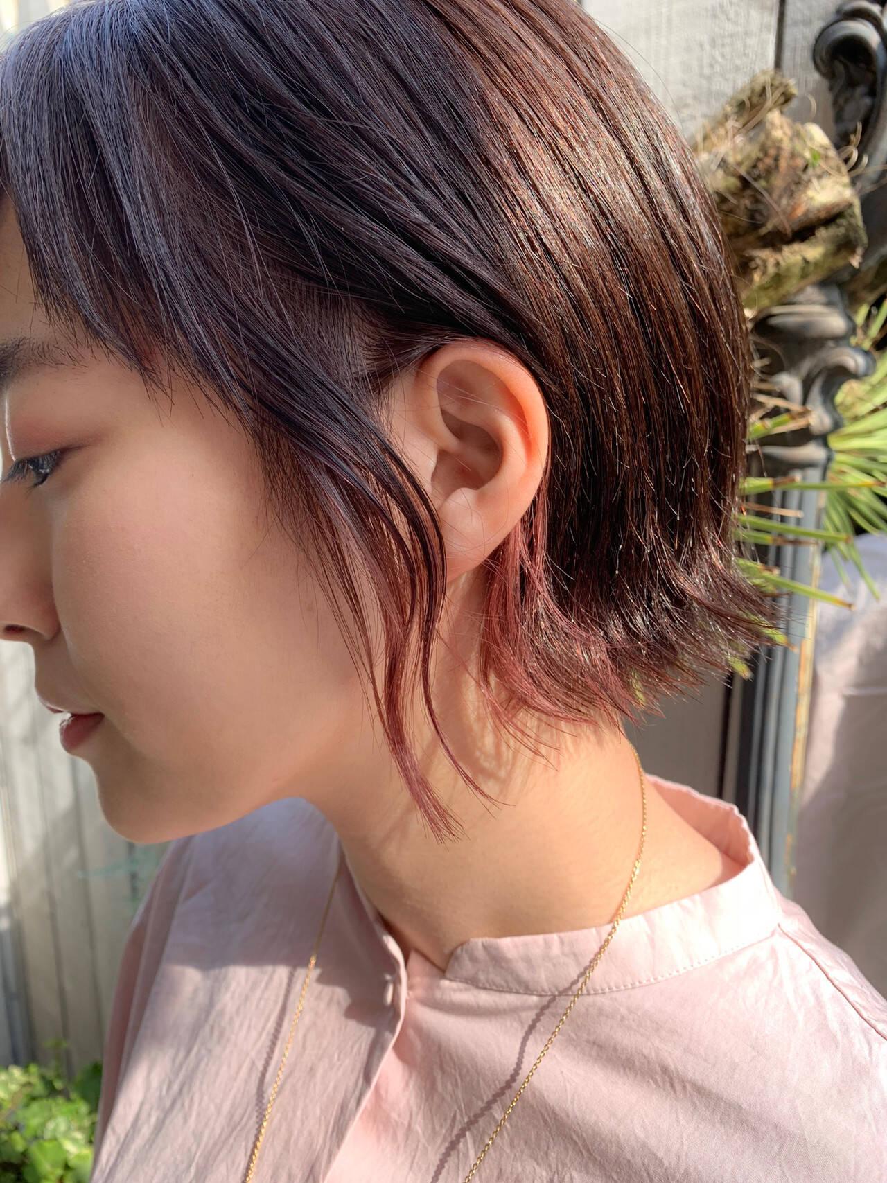 インナーカラー ボブ ショートボブ ピンクヘアスタイルや髪型の写真・画像