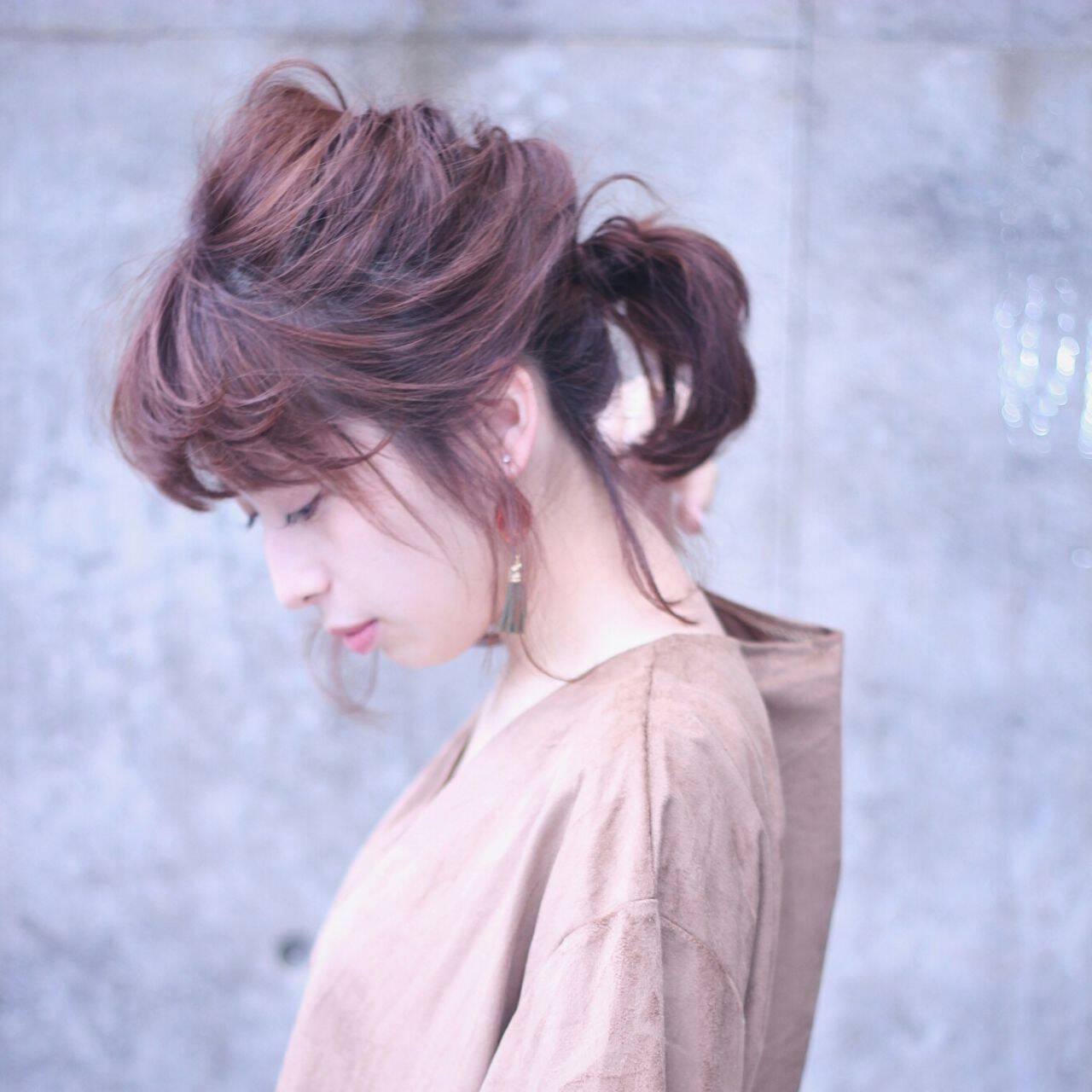 大人かわいい ナチュラル ポニーテール マルサラヘアスタイルや髪型の写真・画像