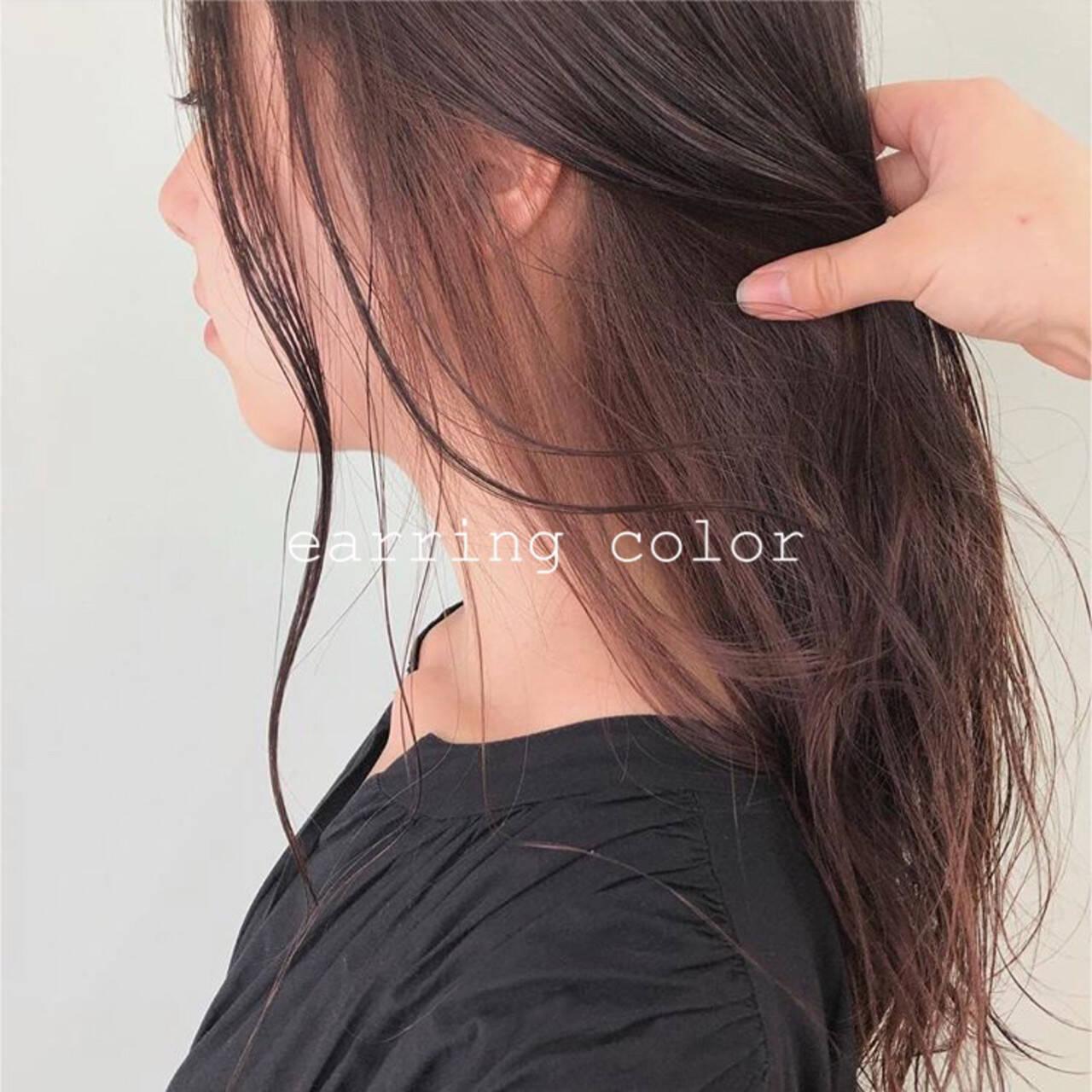 透明感カラー インナーカラー ナチュラル ピンクベージュヘアスタイルや髪型の写真・画像