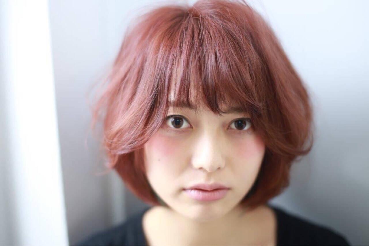 ナチュラル ショート ピンク 色気ヘアスタイルや髪型の写真・画像