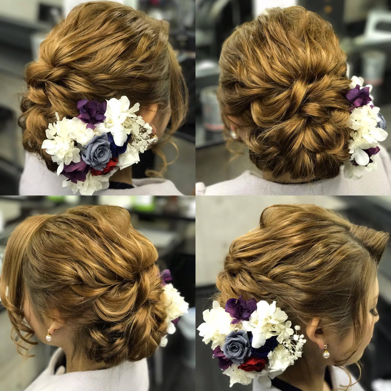 ヘアアレンジ アップスタイル ロング ゆるふわヘアスタイルや髪型の写真・画像
