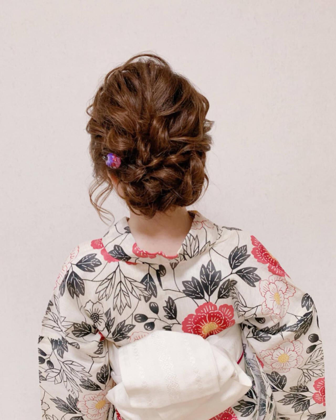 浴衣ヘア エレガント ヘアアレンジ 結婚式ヘアスタイルや髪型の写真・画像