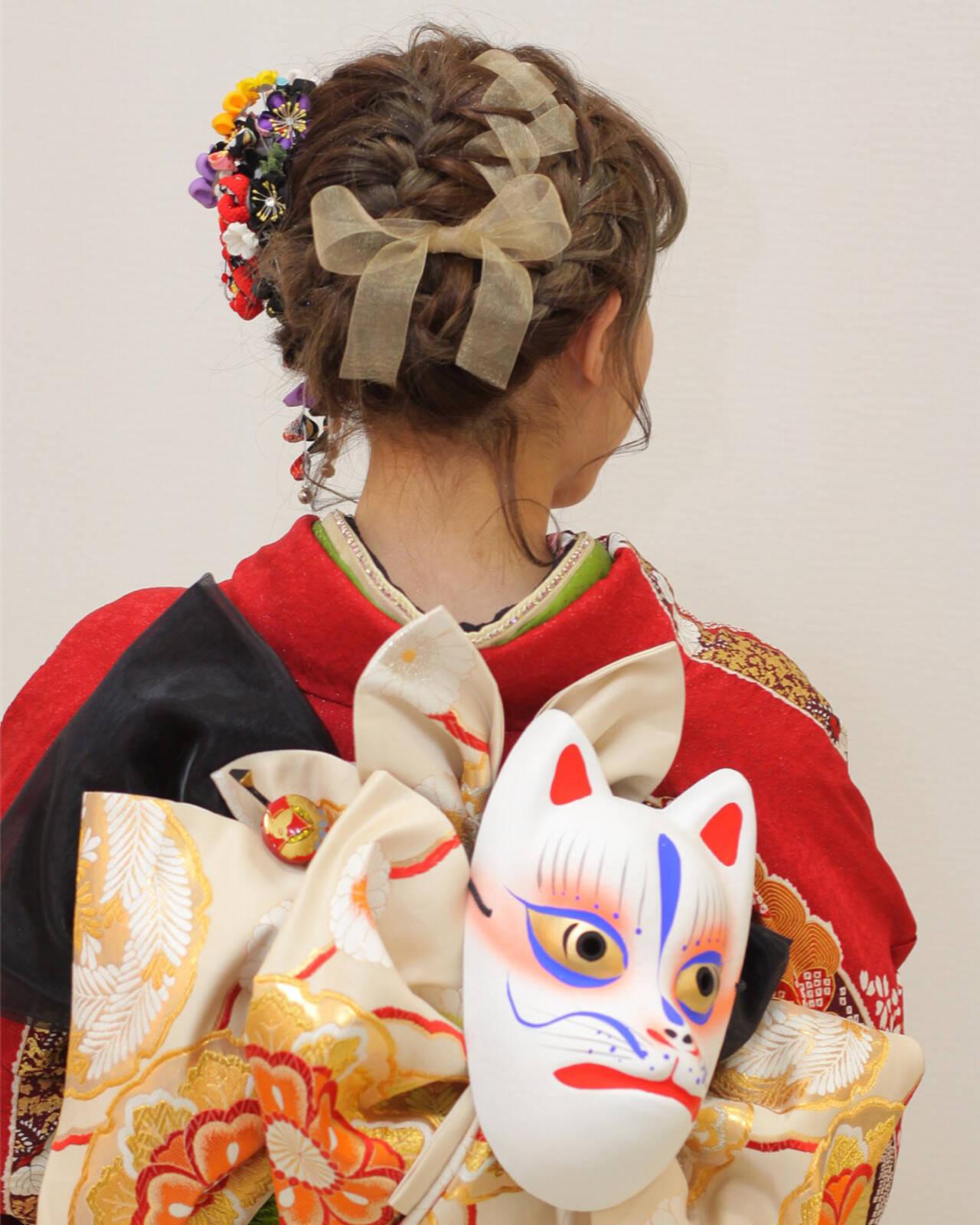 着物 セミロング 成人式 ヘアアレンジヘアスタイルや髪型の写真・画像