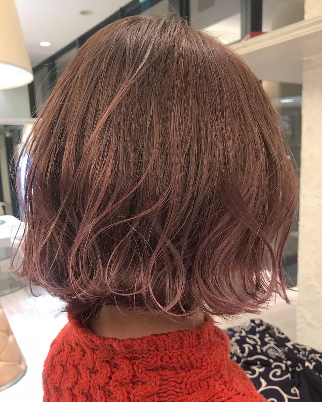 ボブ ラベンダー 波ウェーブ ラベンダーピンクヘアスタイルや髪型の写真・画像
