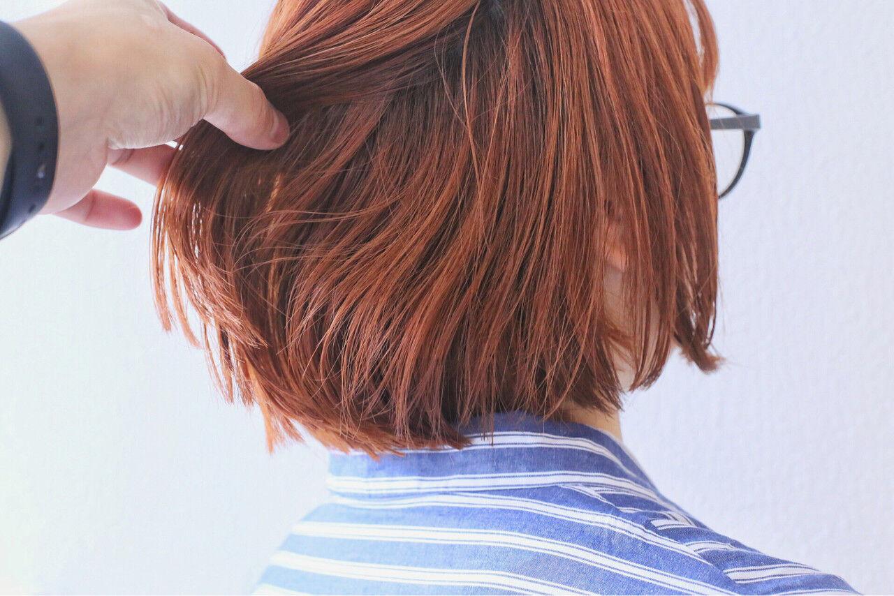 ボブ ブリーチ ダブルカラー ストリートヘアスタイルや髪型の写真・画像